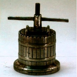 Pewter miniature wine press