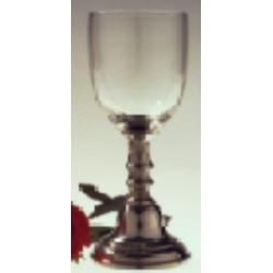 Wine glass with pewter stem