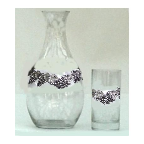 Serving decanter with 6 glasses with grape decor