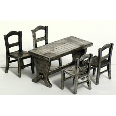 Miniature table + 4 chairs