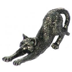 Chat qui s'étire miniature en étain