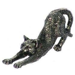Pewter miniature stretching cat