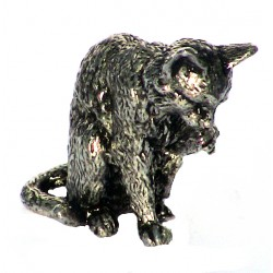 Pewter miniature washing cat