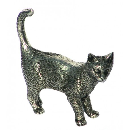 Pewter miniature standing cat