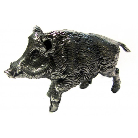 Pewter miniature wild boar