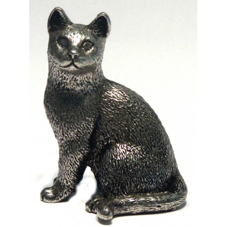 Pewter miniature sitting cat