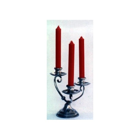 Three flames pewter candlestick