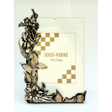"13 x 18cm ""flower"" pewter photo frame"