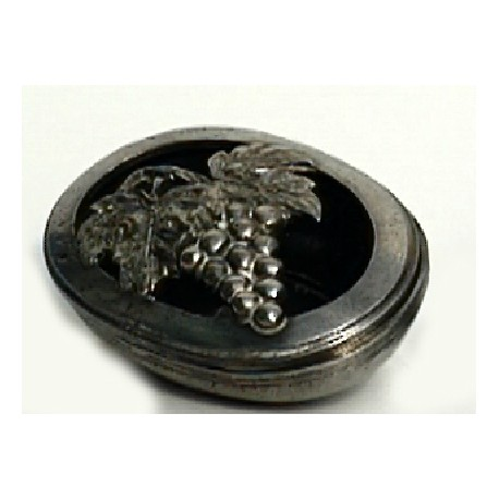 Pewter oval box with openworked grape decor