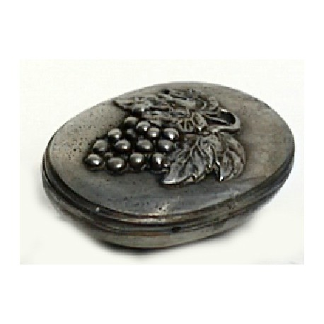 Pewter oval box with grape decor