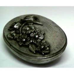 Pewter oval box with flower decor