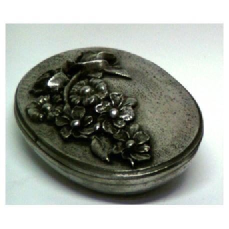 Boîte ovale décor fleur en étain