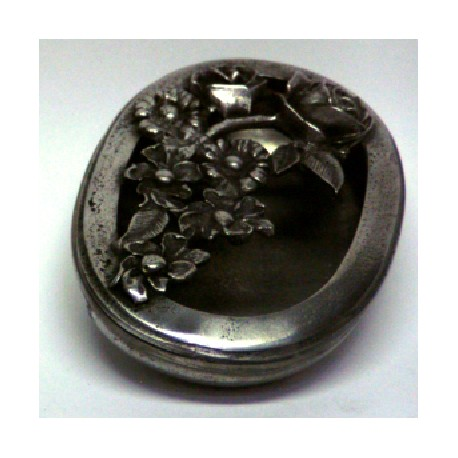 Pewter oval box with openworked flower decor