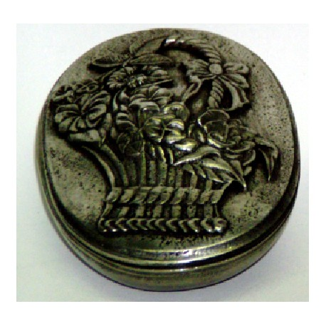 Pewter oval box with basket decor