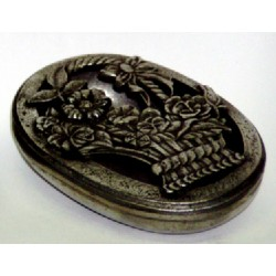 Pewter oval box with openworked basket decor