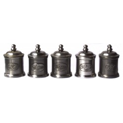Set of 5 pewter spice pots