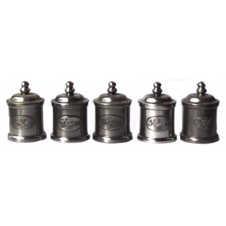 Série de 5 pots à épices en étain