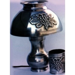 Desk lamp with pewter lampshade and grape decor