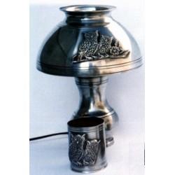 Lampe de bureau avec abat jour décor chouette en étain