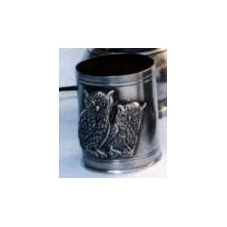 Pewter owl pencil pot