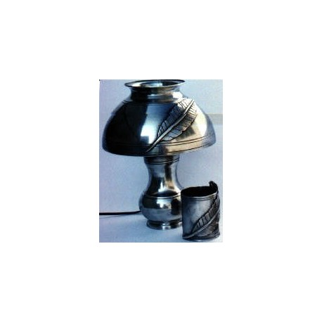 Pewter desk lamp with lampshade and feather decor