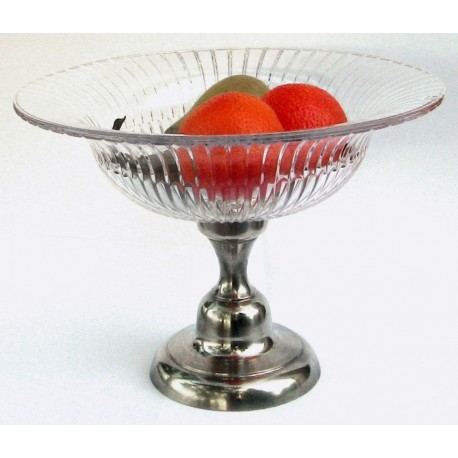 Large cristal fruit bowl with pewter base