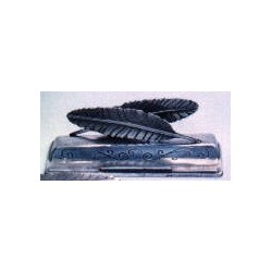 Pewter letter and pencil rack with feather decor