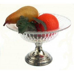 Small cristal fruit bowl with pewter base