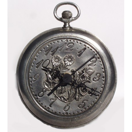 Pewter clock with flower decor