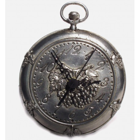 Pewter clock with grape decor