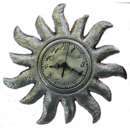 Pewter sun clock