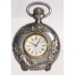 Large pewter watch with leaf decor