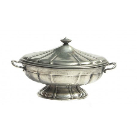 Pewter oval soup tureen