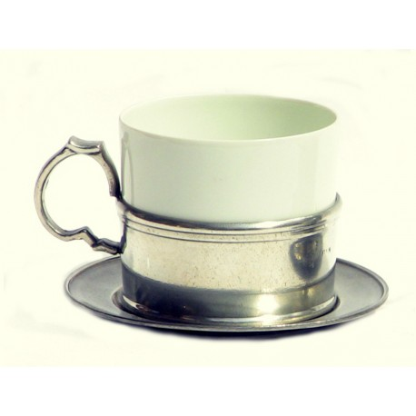 Porcelain and pewter tea cup