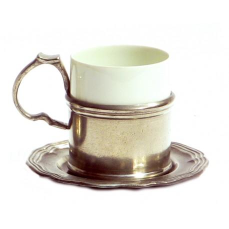 Tasse à café en porcelaine et étain