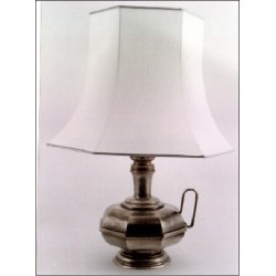 Pewter octagonal electric lamp