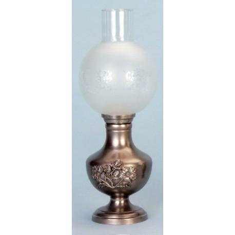 Lampe électrique avec décor fleur en étain