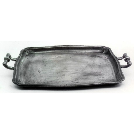 Pewter tray with handles
