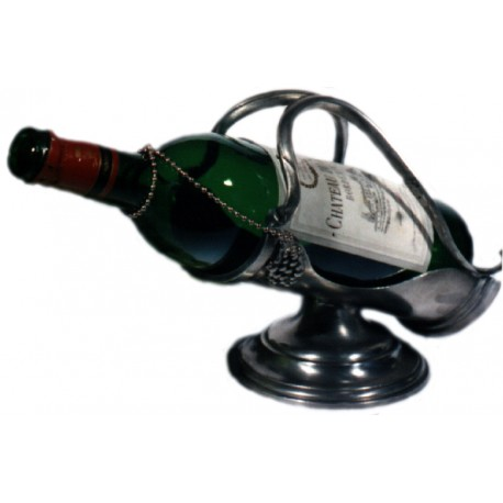 Pewter bottle holder with base and grape decor