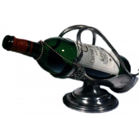 Porte bouteille avec pied et décor raisin
