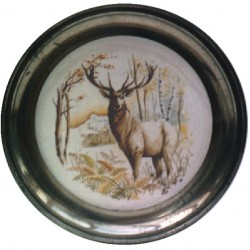 Pewter and faience plate with deer decor
