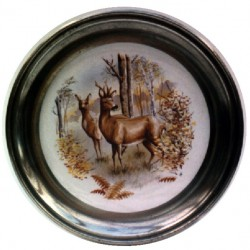 Pewter and faience plate with doe decor