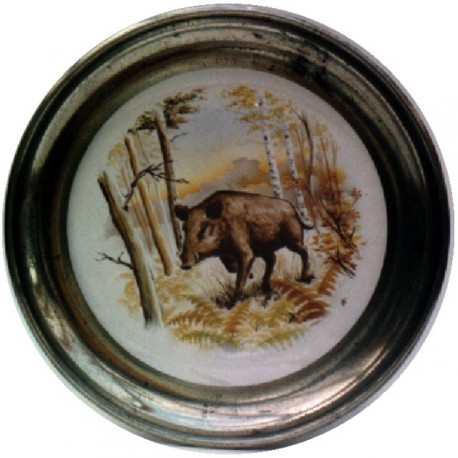 Pewter and faience plate with wild boar decor