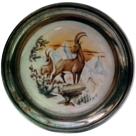 Pewter and faience plate with ibex decor