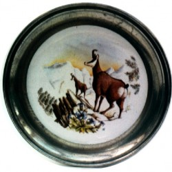Pewter and faience plate with chamois decor