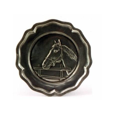 Assiette décor cheval en étain