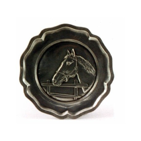 Pewter plate with horse decor