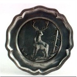 Pewter plate with deer decor