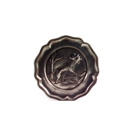 Pewter plate with hunting dog decor