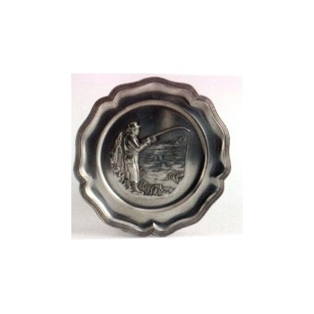 Pewter plate with fisherman decor